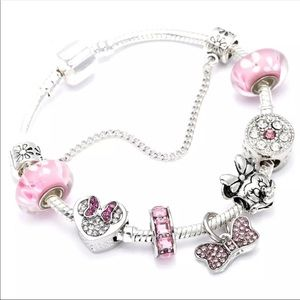 New 21cm Pink Minnie Mouse Charm Bracelet